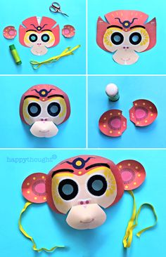 Make a monkey mask for Chinese New Year! DIY printable template at happythought.co.uk