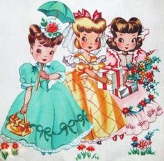 Love each of their dresses and hairstyles! #girls #vintage #illustrations