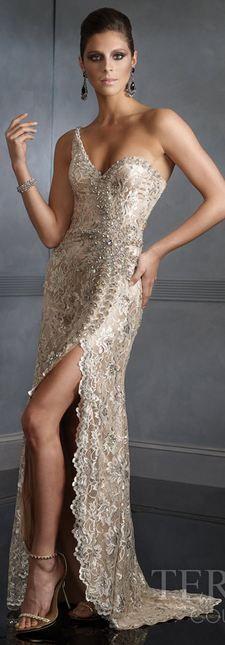 Terani Cream Evening Gown
