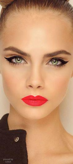 Stunning makeup - winged eyeliner, red lips   thebeautyspotqld.com.au
