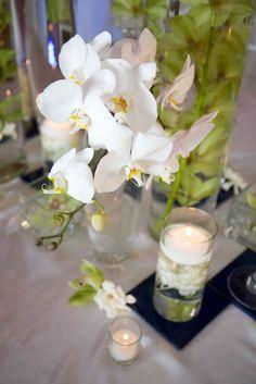 karen tran florals - real wedding - la jolla wedding - reception decor - table decor - centerpiece - phalaenopsis orchids & cymbidium orchids