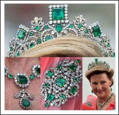 Empress Josephine's Emerald Tiara, Queen Sonja of Norway:   Read it  It is part of the Norwegian Emerald Parure, a set of jewelry also including a matching necklace, earrings and brooch, and is part of the Norwegian Royal family's crown jewels. The emeralds most likely originated in the emerald mines of Colombia and this tiara has a very long history from Napoleon Bonaparte's reign in the 1800′s to today.