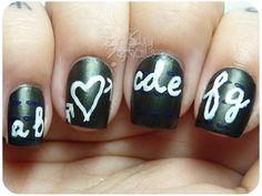 Cursive Chalkboard Nails