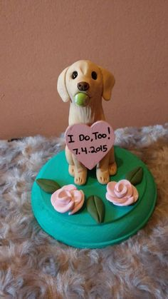 Dog Wedding Cake Topper with tennis ball/ by AntonisArtAsylum