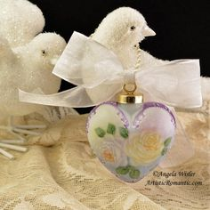 Hand Painted Porcelain Heart Ornament Purple White Yellow Roses