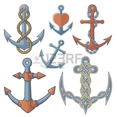 Set of six anchor icons isolated on white background  Stock Vector