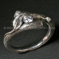 KIJANI -Single Leaf Ring in Sterling Silver and Set With White Sapphire. Other stones possible on Etsy, $210.00