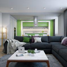 Salotti moderni con un divano blu e tavolino di legno quadrato ...