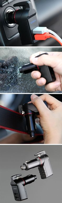This car charger is a lifesaver because this bad-boy is your ticket to surviving a car crash. The Ztylus Stinger serves its purpose as a car charger with two 2.4 ampere USB ports, it also includes a spring-loaded glass breaker and a seat-belt cutter hidden away in its incredible design.