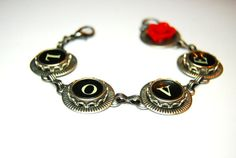 Typewriter Key Bracelet  Antique Silver Plated by JustWearThese, $40.00