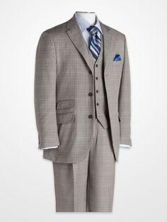 Steve Harvey Gray and Black Check Vested Suit - K Fashion Superstore Big Man Suits, Men's Suits, Dress Suits, Cool Suits, Men Dress, Mens Fashion Suits, Men's Fashion, Steve Harvey Suits, Big And Tall Style