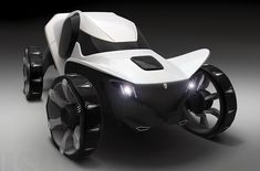 The menacing-looking Misha all-terrain vehicle was designed specifically as a family car for use in the harsh Siberian climate. The slightly asymmetric body exists so the driver has a little more room to operate comfortably and so passengers can have a unique riding experience from seat-to-seat. Powered by four independent electric motors located in each wheel, Misha also features tires inspired by bear claws that have been adapted to grip the most treacherous of terrain.