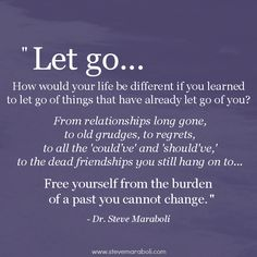 Radical Acceptance is letting go of things you cannot change. We cannot change the past; it is what it is whether we like it or not.