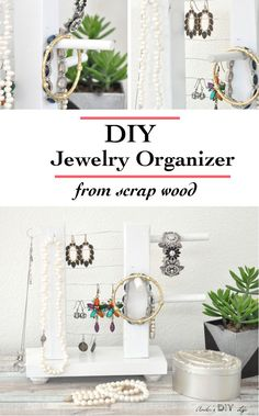 This simple table top jewelry holder is so easy and quick to make!! It looks really pretty and organizes all the bracelets, earrings and necklaces