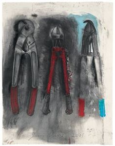Jim Dine, tools, great use of contrasting colours as well as additive and subtractive marks Jim Dine, Cincinnati, Pop Art, Observational Drawing, Mechanical Art, Still Life Drawing, A Level Art, Gcse Art, You Draw