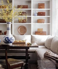 | P | Banquette seating in a Breakfast Room with fabric by Rose Tarlow + White…