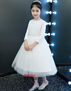 d4b4dd16ac1 Find custom tea length lace organza flower girl dresses with long sleeves