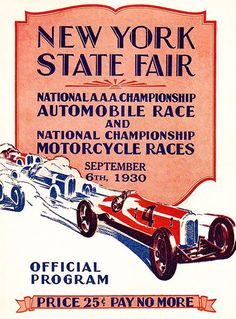 1930 Auto & Motorcycle Races - New York State Fair - Program Cover Poster