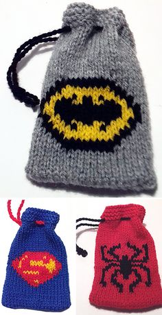Knitting Patterns for Superhero Gift Bags - These little gift bags are the perfect size for gift cards, candy, and other small gifts for the superhero in your life. Pattern includes instructions for Batman, Superman, and Spiderman bags. They use around 12g of yarn for each bag so they are great stash busters. DK weight yarn. Designed by ayrshire knits.