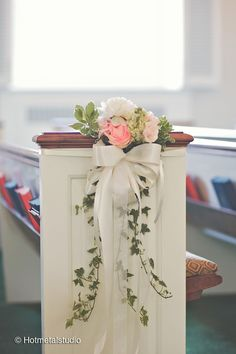 Hope and joy home diy wedding pew bows pew bows hepatica wedding florals simple pew clusters with roses hydrangea peony and trailing ivy photo hotmetalstudio junglespirit Choice Image