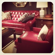 Hickory Chair - red leather with warm wood tones. #design #interiors #inspiration