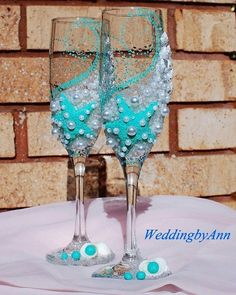 Turquoise wedding champagne glasses  Mint Starfish by WeddingbyAnn