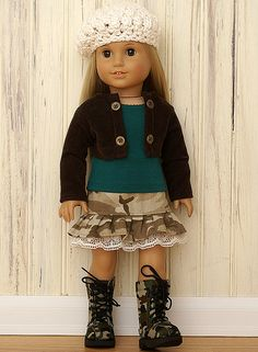 American Girl Doll Clothes-Funky Camo Set....Duck Dynasty anyone??  That could be cool - Customize an AG doll to look like Sadie Robertson and put this outfit on her.  Whoop whoop, Duck Dynasty obsessed :P