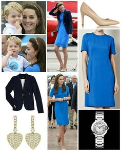 """◇ 8 July 2016 ◇ □ Outfit info □  The Duke and Duchess of Cambridge along with their son Prince George at Royal International air tattoo at RAF.  The Duchess wore her favouriteStella McCartney'Ridley' dress, which she debuted during London 2012 and has worn several times since. Below we see Kate wearing it at the 'Aiming High' exhibition, during a tennis match at London 2012, and in Canberra during the 2014 tour.The electric blue dress is from the Fall 2012 collection and was described: """"A…"""