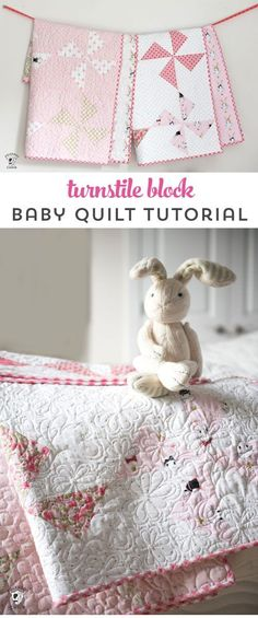 Cute free baby quilt patterns that you can make in a day. A free baby quilt pattern with turnstile quilt blocks. Free Baby Quilt Patterns, Baby Quilt Tutorials, Sewing Patterns Free, Quilting Tutorials, Owl Patterns, Quilting Patterns, Quilting Ideas, Easy Patterns, Tatting Patterns