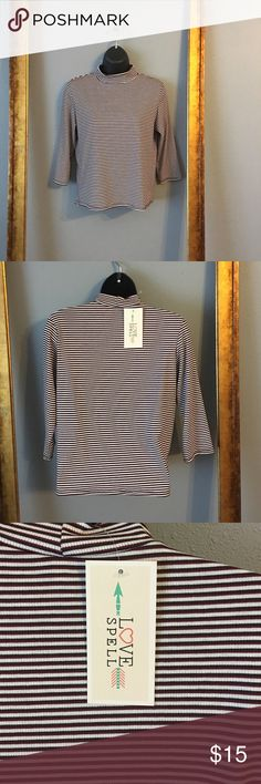 Love Spell striped long sleeve top Red, black and cream striped mock turtleneck  size say XL but runs more towards a medium. Tops Tees - Long Sleeve