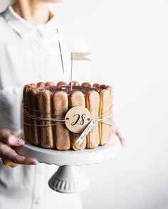 Birthday tiramisu cake by apaltynowicz Birthday Cake Decorating, Cake Decorating Supplies, 25th Birthday Cakes, 28th Birthday, Sweet Recipes, Cake Recipes, Rodjendanske Torte, Charlotte Cake, Tiramisu Cake