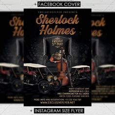 Sherlock Holmes Party - Premium A5 Flyer Template https://www.exclusiveflyer.net/product/sherlock-holmes-premium-a5-flyer-template/
