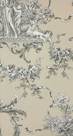 Biltmore Wallpaper An elegant toile de jouy wallpaper in a with urns and cherubs in charcoal on taupe.