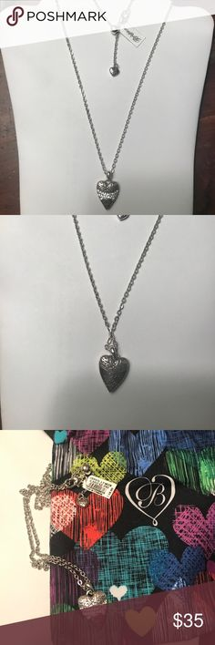 """Reversible Brighton Necklace Pretty Heart Necklace. Crystals on one Side and LOVE on the Reverse Side. Hangs 9 3/4"""" From Clasp to end of Pendant. Can Extend to 10 3/4"""". Comes with Jewelry Pouch NWT Brighton Jewelry Necklaces"""