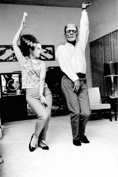 A lovely vintage photo of a Frankenstein's Monster & Bride of Frankenstein dancing.  Hopefully to the Monster Mash.