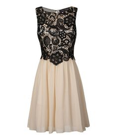 Cream & Black Lace Ella Dress - Women
