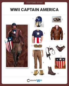 The best costume guide for dressing up like WWII Captain America, the alter ego of Steve Rogers in Marvel's Captain America: The First Avenger. Captain America Cosplay, Captain America Halloween Costume, Captain America Outfit, Captain America Quotes, Marvel Halloween Costumes, Captain Costume, Halloween Snacks, Halloween 2019, Halloween Outfits