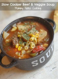 Slow Cooker Beef & Veggie Soup  Made this a few weeks ago when it was cold and it was delicious! I made enough that I froze half of it for a later date!