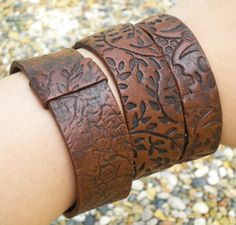 Faux Leather Polymer Clay Bangle medium to large Set by Claylette, $19.99