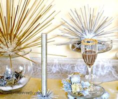 How to Make Gold and Silver Metallic Starburst - To add more of a festive look and give my dessert buffet some more color I made these gold and silver metallic…