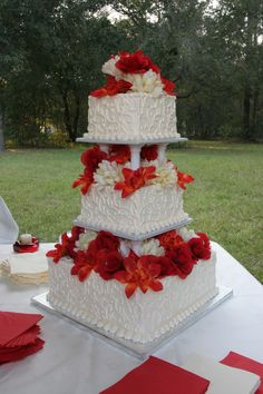 My Wedding Cake (Publix)   Flowers are fake & were arranged by me