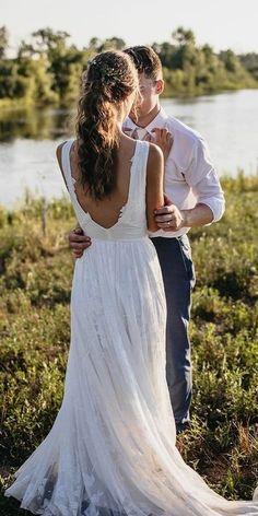 30 Bohemian Wedding Dress Ideas You Are Looking For ❤ bohemian wedding dress a line v back rustic wearyourlovexo #weddingforward #wedding #bride