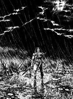 I made this after feasting my eyes on Barry Smith and Tim Conrad's Worms of the Earth although the Buscema influence –as always– is proba. CONAN IN THE RAIN Conan, Art Decor, Rain, Darth Vader, Deviantart, Landscape, World, Fictional Characters, Witches