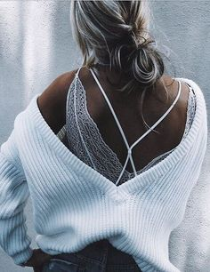 strappy V-neck cable knits