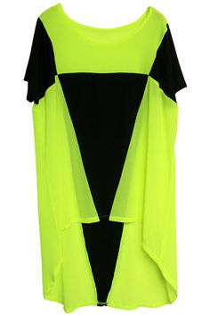 Bright Green With Colourblock. Description Bright green dress, featuring a round neck, short sleeves styling, black triangle block, a relaxed fit. Fabric Chiffon. Washing Cool hand wash with similar colours, cool iron, dry flat, do not tumble dry, do not bleach. #Romwe