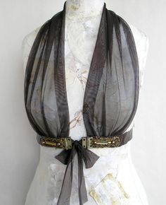 Brown Leather Harness Steampunk Couture Cosplay Sexy Costume Underbust Belt, Croco Leather Body Sash for Women.  I love how teens this is, but I don't really get how it would  work with the rest of the clothes