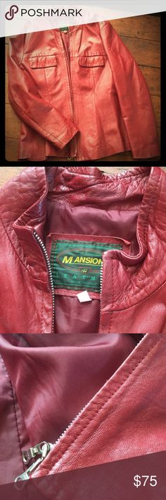 Italian leather coat Incredibly soft Italian leather coat in gorgeous deep red. EU size 46. I purchased this in Perugia, Italy. Jackets & Coats