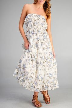 Blue Bird Floral Strapless Maxi [CDB1360] - $33.60 : ShopBloved, Live Laugh and Bloved
