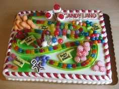 Cute Candyland birthday cake.