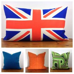 Vintage Retro Union Jack Mod Cushion Cover, Organic Fabric, NEW